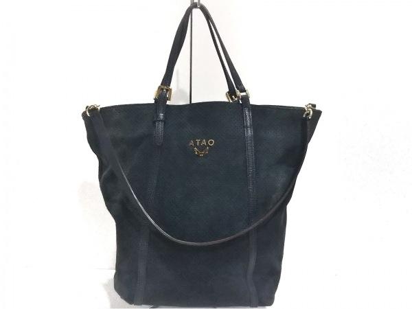 ATAO(アタオ) トートバッグ美品  - ネイビー パンチング スエード