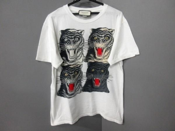 GUCCI(グッチ) 半袖Tシャツ サイズXS メンズ 469307-X9B86 白×黒×マルチ タイガー