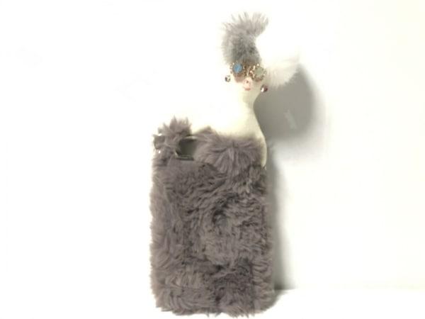 Demodee(デモデ) 携帯電話ケース美品  グレー×白×マルチ