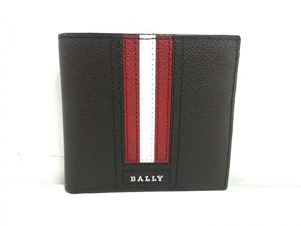 BALLY(バリー) 札入れ新品同様  トラサイ 6222055 ダークブラウン×レッド×白 レザー