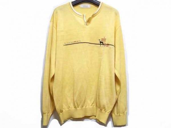 Adabat(アダバット) 長袖セーター サイズ5 XL メンズ イエロー×マルチ 刺繍