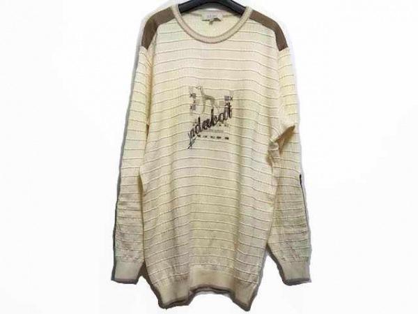 アダバット 長袖セーター サイズ50 メンズ アイボリー×ブラウン×マルチ 刺繍