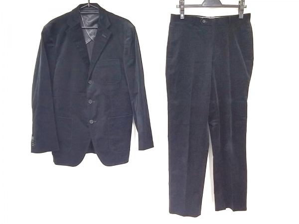ビサルノ シングルスーツ メンズ美品  黒 シングル/コーデュロイ/ネーム刺繍