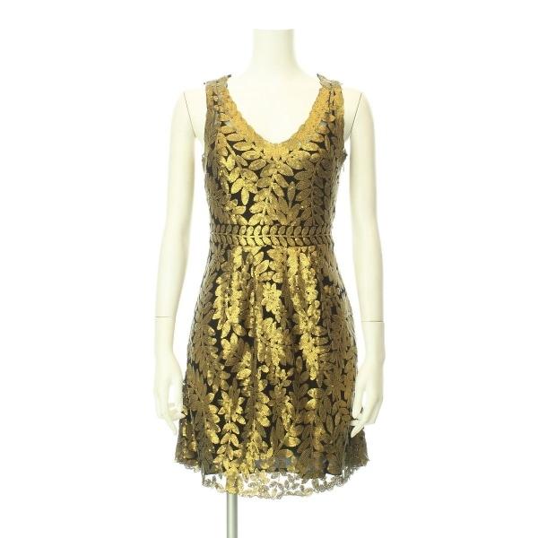 アンソロポロジー ドレス レディース新品同様  ゴールド系 カクテルドレス