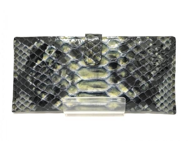 ARUKAN(アルカン) 長財布 黒×イエロー×マルチ 型押し加工 エナメル(レザー)