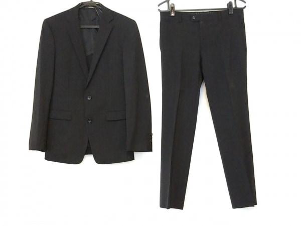 コムサメン シングルスーツ サイズ48 XL メンズ 黒 ストライプ/肩パッド