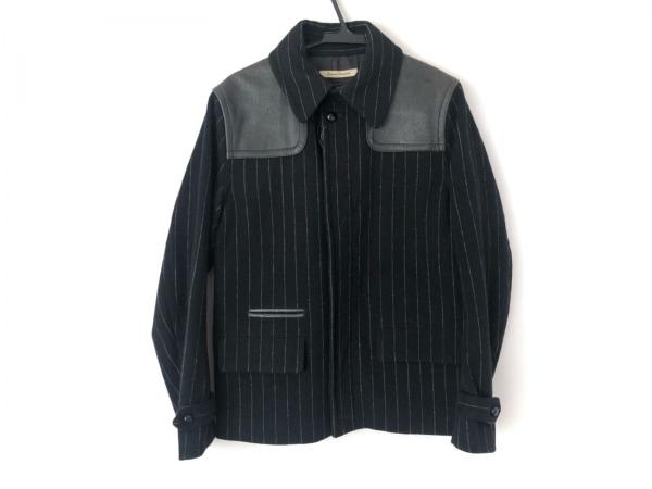 ジャーナルスタンダード ブルゾン メンズ美品  黒 冬物/ストライプ/レザー
