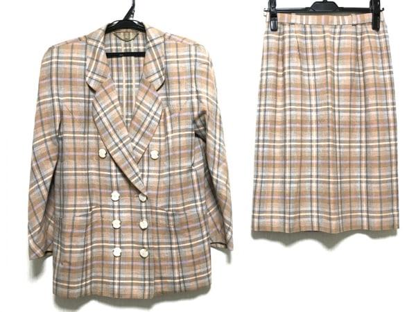 Leilian(レリアン) スカートスーツ サイズ9 M レディース ベージュ×ブルー×白