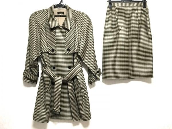 レリアン スカートスーツ サイズ9 M レディース アイボリー×黒 ロング丈/チェック柄