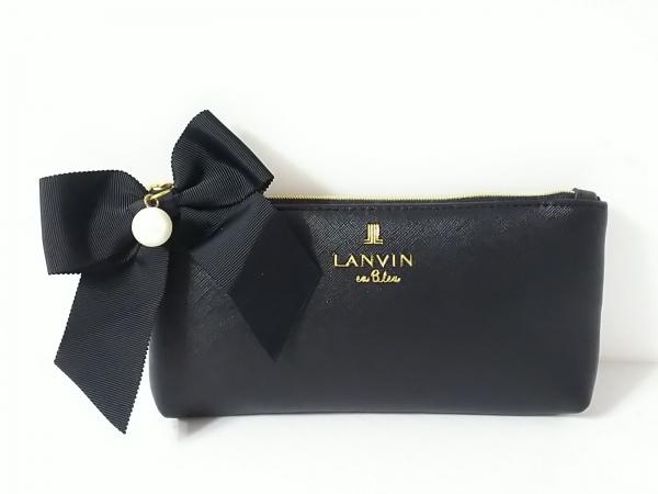 LANVIN en Bleu(ランバンオンブルー) ポーチ 黒 リボン/フェイクパール 合皮