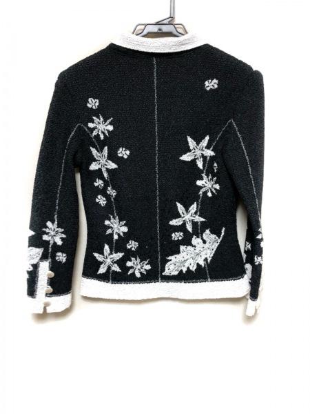 ノコオーノ ジャケット サイズ38 M レディース美品  黒×白 シワ加工/ビーズ/花柄