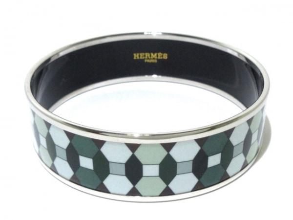 HERMES(エルメス) バングル美品  エマイユ 金属素材 シルバー×グリーン×マルチ