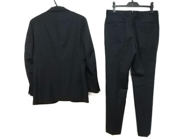 ユニバーサルランゲージ シングルスーツ メンズ美品  ダークグレー×白 ストライプ