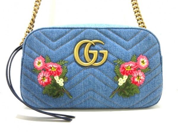 グッチ ショルダーバッグ美品  GGマーモント 447632 ブルー×ネイビー×ゴールド