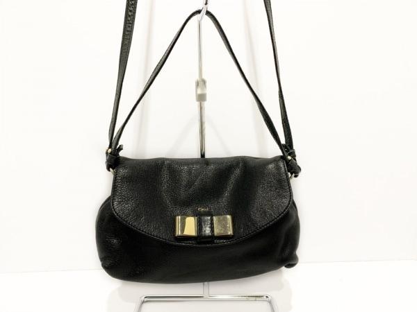 Chloe(クロエ) ハンドバッグ リリィ 黒×ゴールド リボン レザー×金属素材
