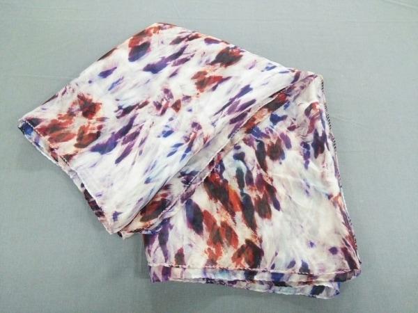 ESCADA(エスカーダ) スカーフ 白×パープル×マルチ シースルー
