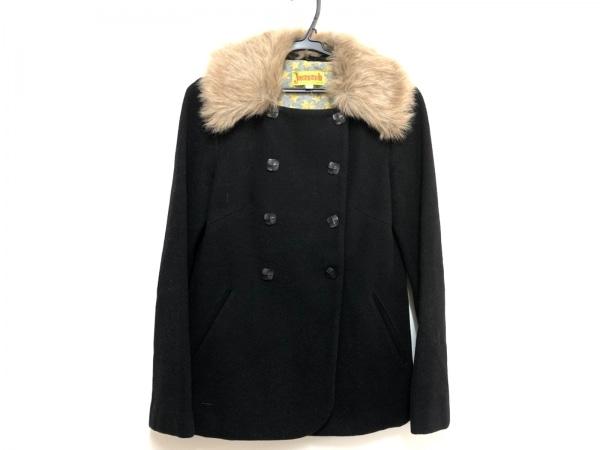ホコモモラ コート サイズ40 XL レディース 黒×ブラウン 冬物/フェイクファー