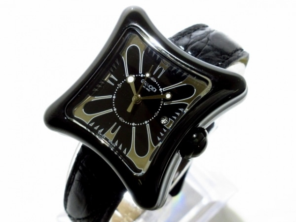 GRIMOLDI(グリモルディ) 腕時計美品  - メンズ 革ベルト 黒×シルバー