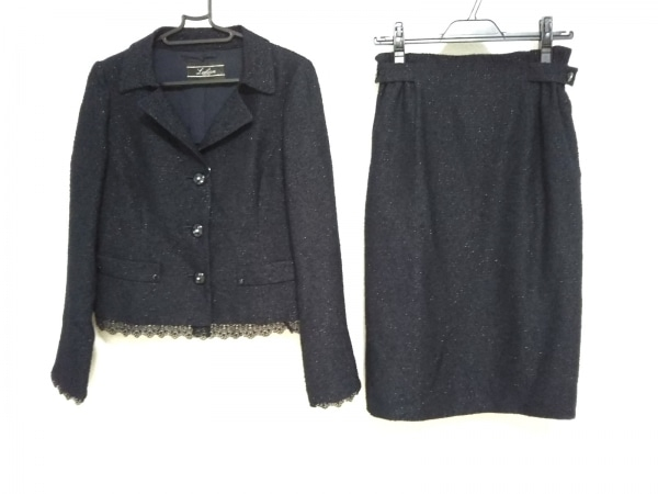 Leilian(レリアン) スカートスーツ サイズ9 M レディース美品  黒 ラメ