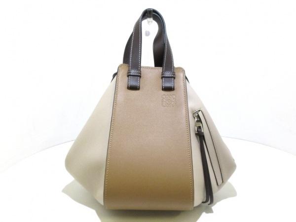 LOEWE(ロエベ) ハンドバッグ美品  ハンモックスモール 387.30US35 モカ×マルチトーン
