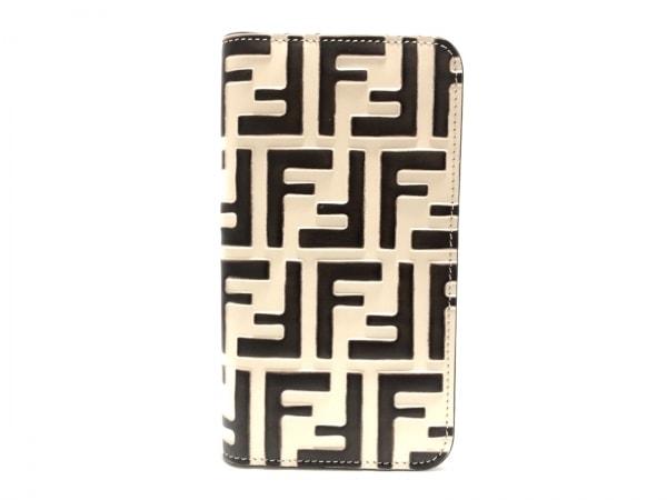 フェンディ 携帯電話ケース美品  ズッカ柄 7AR675 アイボリー×ダークブラウン レザー
