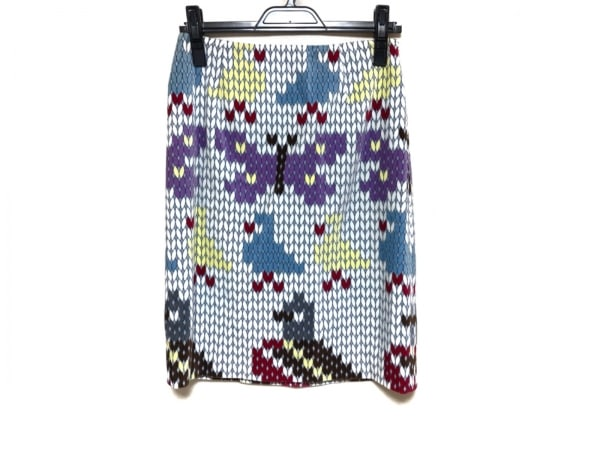 モスキーノ チープ&シック スカート レディース美品  ライトブルー×ネイビー×マルチ