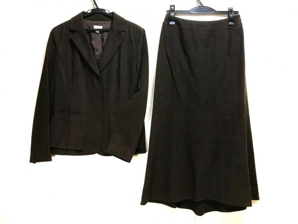 アエル スカートスーツ サイズ40 M レディース ダークブラウン ロング丈/スエード