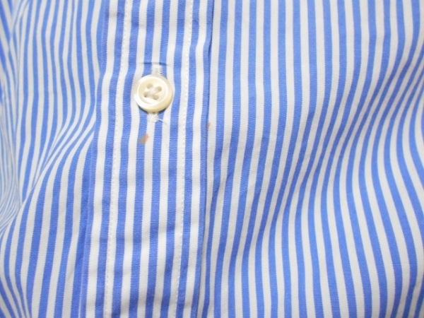 ポロラルフローレン 長袖シャツ サイズ2 M メンズ 白×ブルー ストライプ