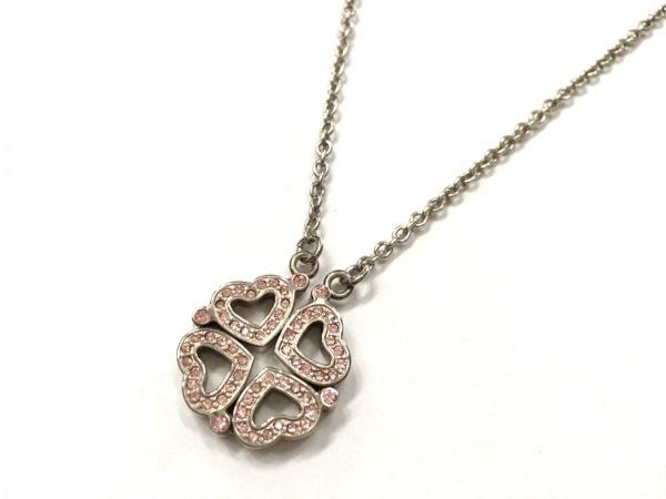 フォリフォリ ネックレス美品  金属素材×ラインストーン シルバー×ピンク ハート
