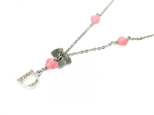 クリスチャンディオール ネックレス美品  金属素材×カラーストーン シルバー×ピンク