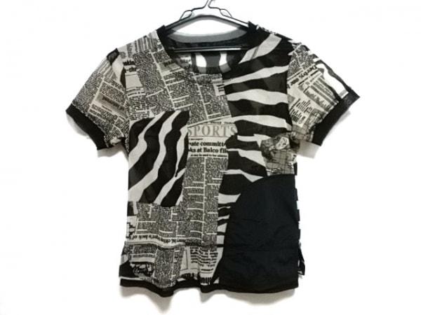 エイココンドウ 半袖Tシャツ レディース美品  黒×ベージュ ゼブラ柄/シースルー