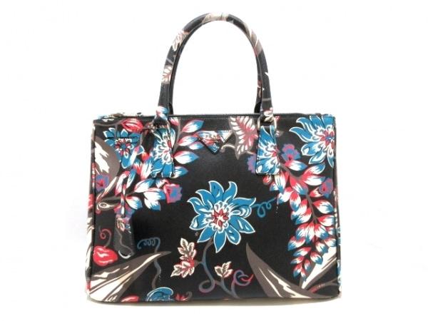 PRADA(プラダ) ハンドバッグ - BN2274 黒×ブルー×ピンク 花柄 レザー