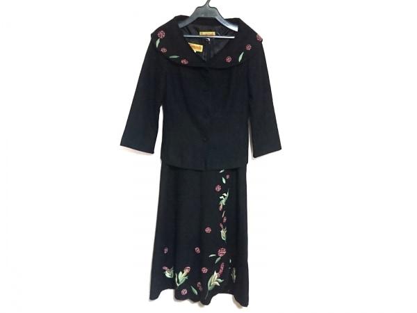ホコモモラ ワンピーススーツ サイズ42 L レディース美品  黒×グリーン×ピンク