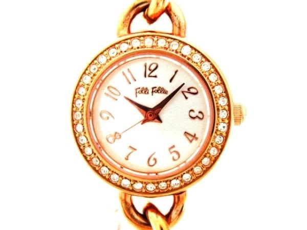 フォリフォリ 腕時計美品  WF6B065 レディース ブレスウォッチ/ラインストーンベゼル