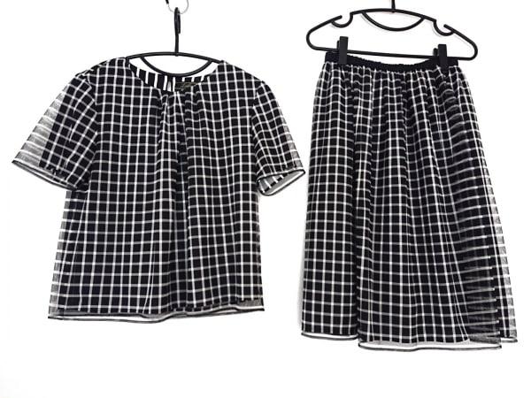 Leilian(レリアン) スカートセットアップ レディース 黒×白 チェック柄/メッシュ
