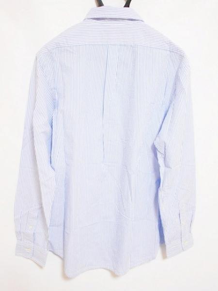 ポロラルフローレン 長袖シャツ サイズLG L メンズ美品  白×ライトブルー ストライプ