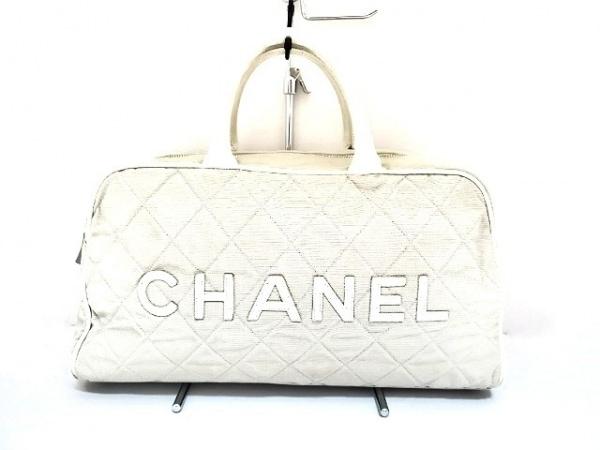 CHANEL(シャネル) ハンドバッグ - ライトグレー×白 キルティング キャンバス×レザー