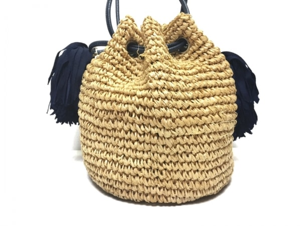 LUDLOW(ラドロー) ショルダーバッグ ベージュ×ネイビー かごバッグ/巾着型