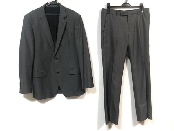 カルバンクライン シングルスーツ メンズ - - グレー ヘリンボーンストライプ