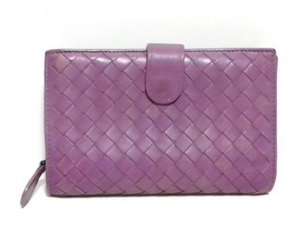 ボッテガヴェネタ 2つ折り財布 イントレチャート B01536676D ピンクパープル レザー