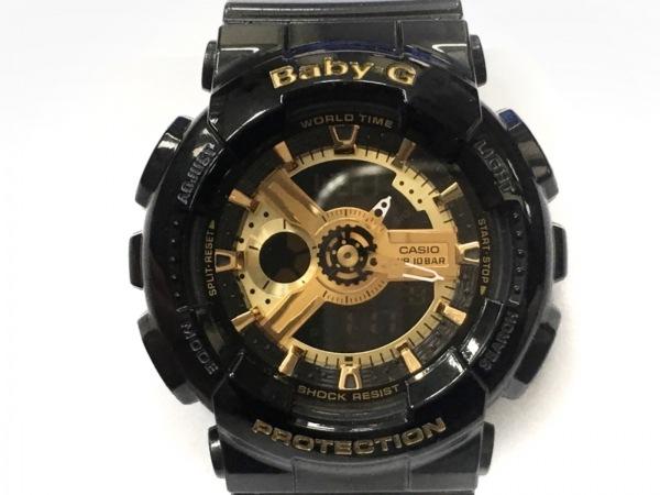 CASIO(カシオ) 腕時計美品  Baby-G BA-110 レディース ラバーベルト ゴールド×黒
