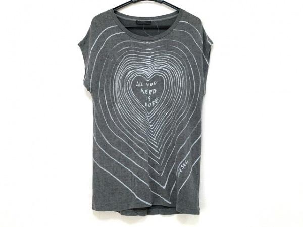 DIESEL(ディーゼル) 半袖Tシャツ レディース グレー×ライトグレー ラメ
