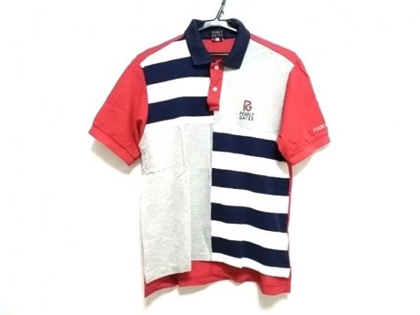 パーリーゲイツ 半袖ポロシャツ メンズ ネイビー×白×マルチ パッチワーク