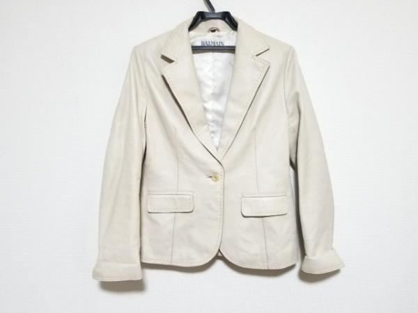 BALMAIN(バルマン) ジャケット サイズ11 M レディース美品  ベージュ レザー