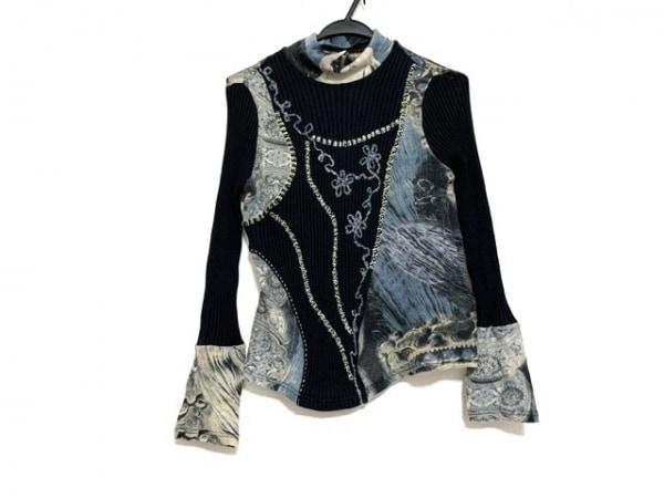 ROSSA(ロッサ) 長袖セーター サイズ44 L レディース美品  ネイビー×ベージュ×マルチ