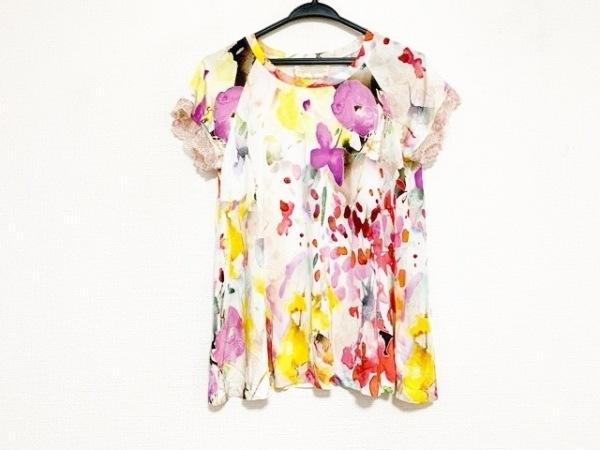 ロッサ 半袖カットソー サイズ44 L レディース美品  白×レッド×マルチ レース/花柄
