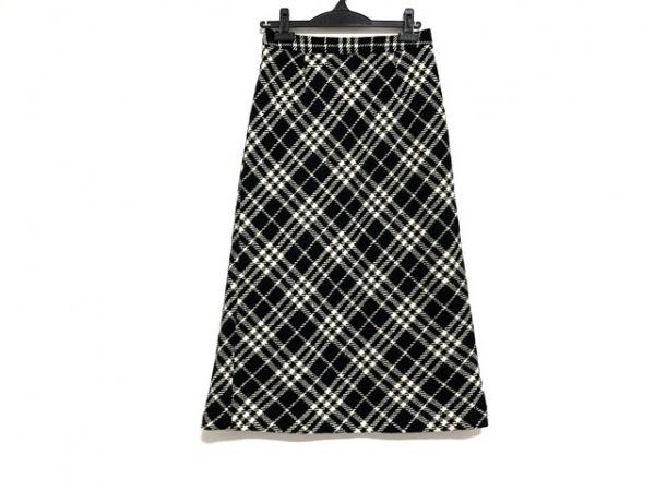 バーバリーロンドン スカート サイズ38 L レディース美品  黒×アイボリー チェック柄