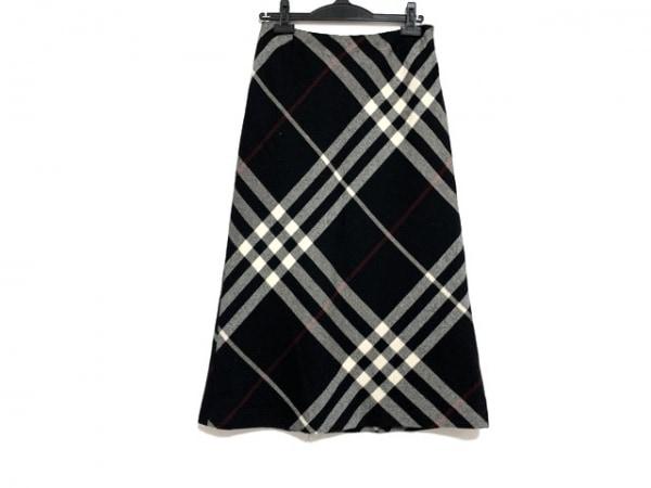 バーバリーロンドン スカート サイズ38 L レディース 黒×アイボリー チェック柄