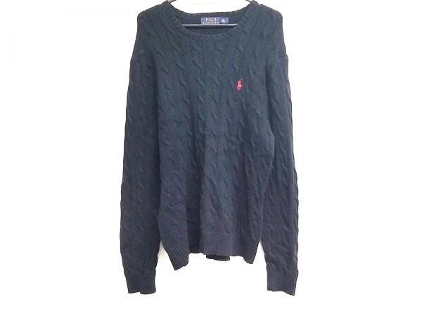 ポロラルフローレン 長袖セーター サイズM メンズ美品  黒×レッド