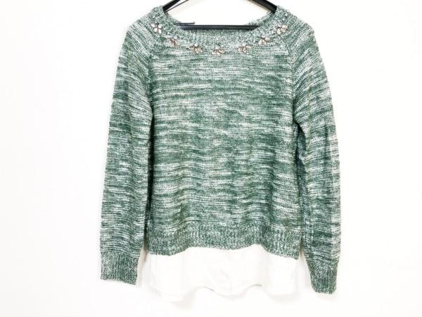 ヴェロフォンナ 長袖セーター サイズ38 M レディース グリーン×白×シルバー